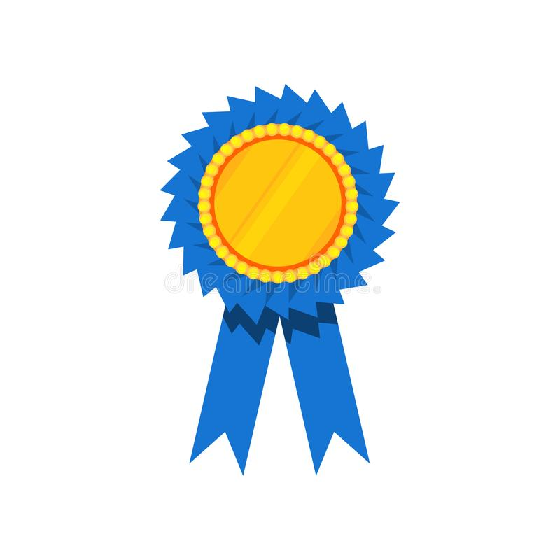 Blue ribbon award, blank golden rosette. Prize for winner. Decorative flat vector element for certificate or diploma vector illustration