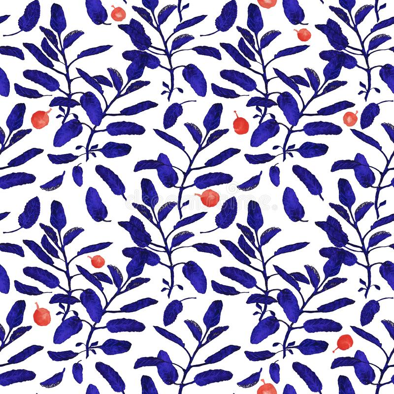 Bright blue sage branch and red berries seamless surface pattern isolated on white background. Botanical modern. Blue sage branch and red berries seamless royalty free illustration