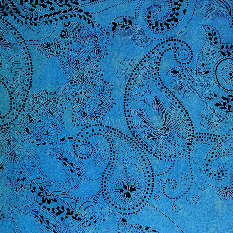 Paisley patterned background in shades blue and black. royalty free stock images