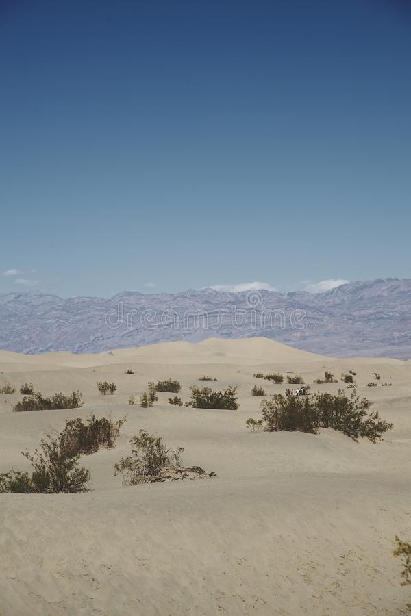 Blue sky and mountains behind small sand dunes stock photography