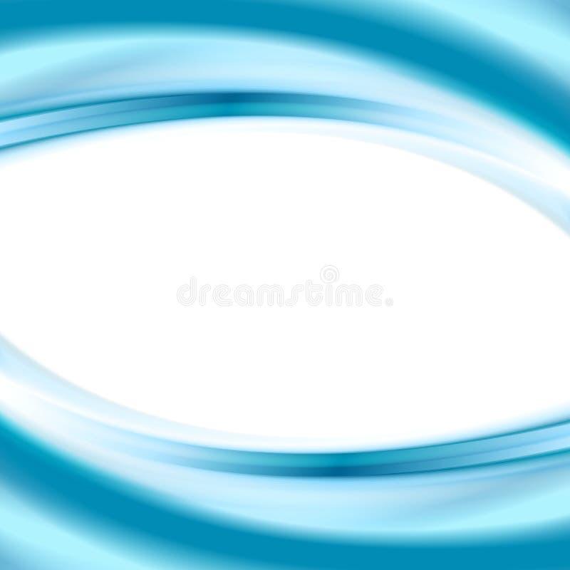 Bright Blue Smooth Waves Elegant Wallpaper Background Vector Card Design