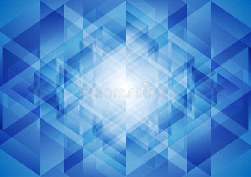 Bright blue tech polygonal background stock illustration