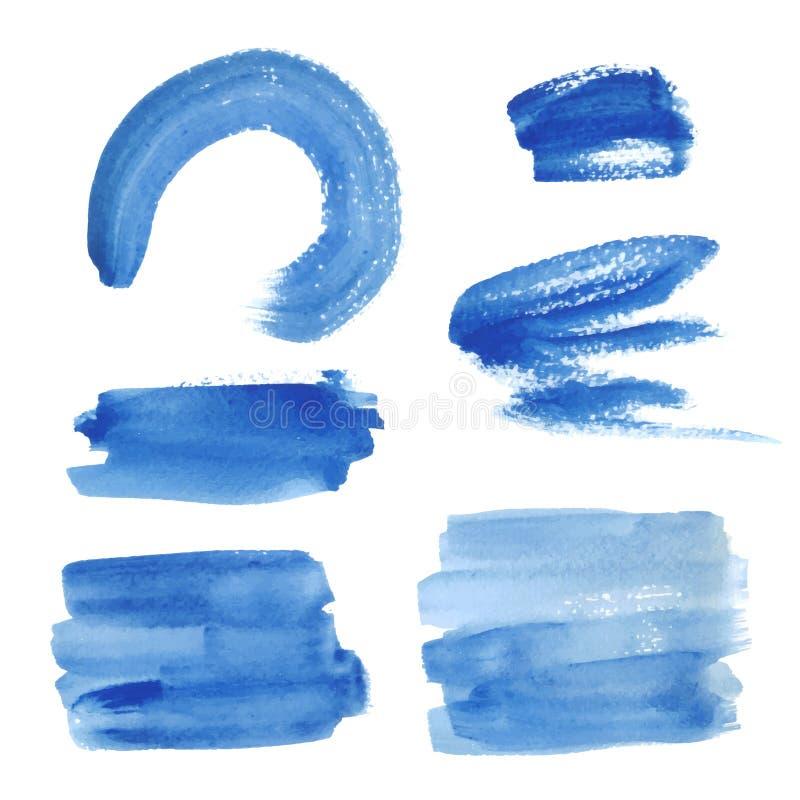 Bright blue watercolor brush strokes vector illustration