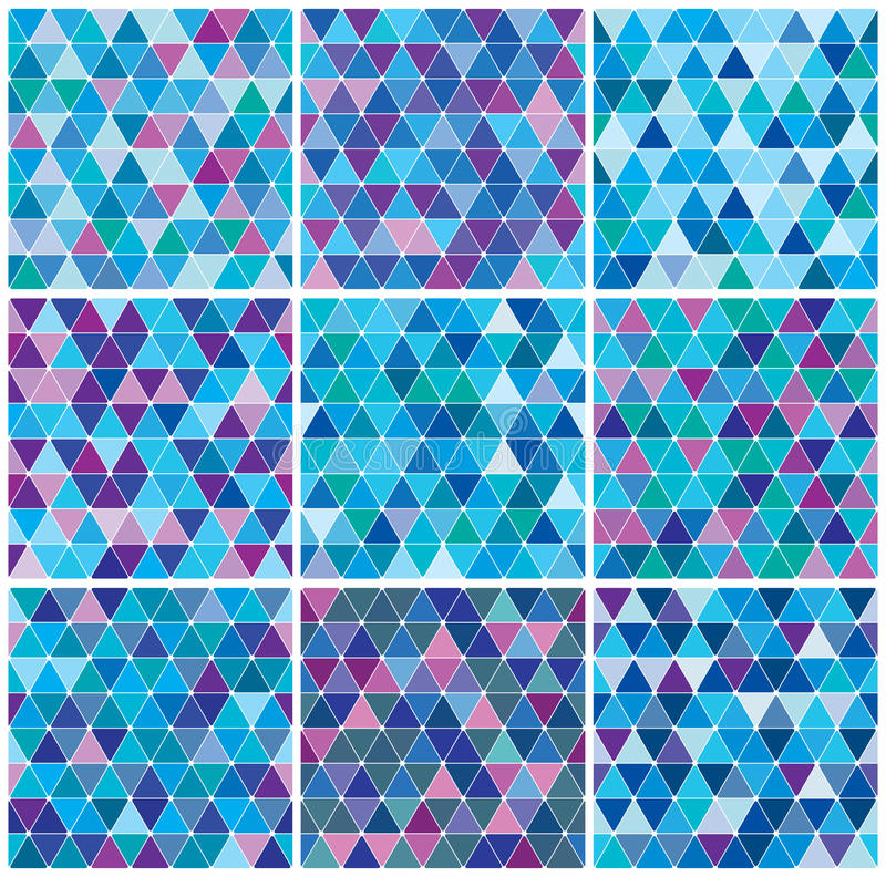 Download Bright Blue Winter Triangle Pattern Set Stock Image - Image: 17925561