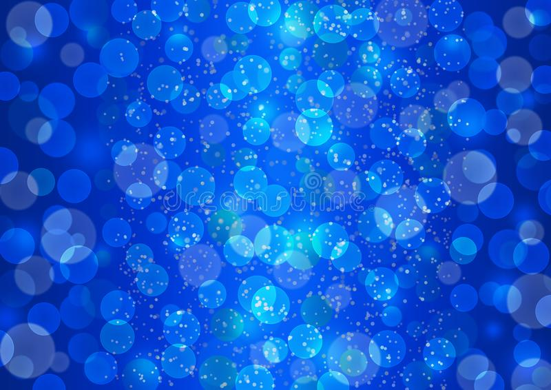 Bright Bokeh Lights and Glittering Sparkles in Blue Background stock photo