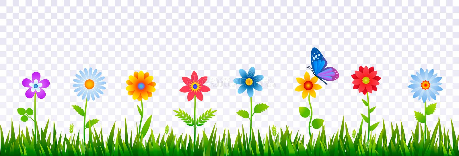 Bright border of green grass with spring flowers. Template for decorating Easter cards, posters, banners. Realistic vector vector illustration