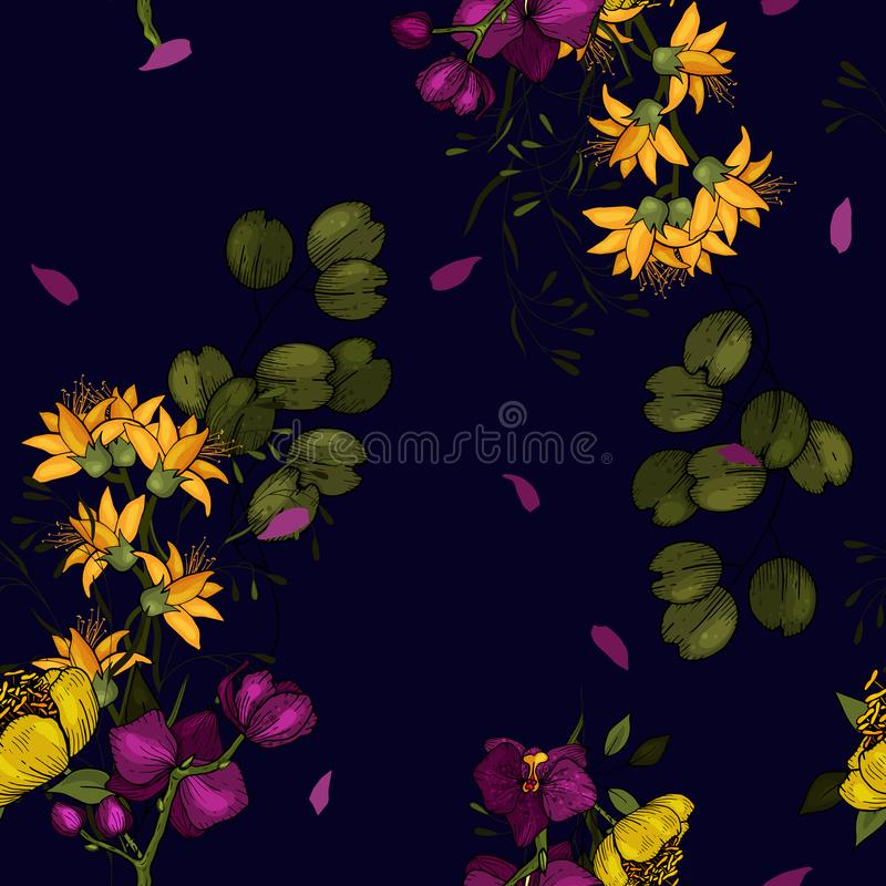 Bright botanical background with bouquets of flower Orchid. Wallpaper. Hand drawn. Vector illustration. Folk flowers. Seamless stock illustration