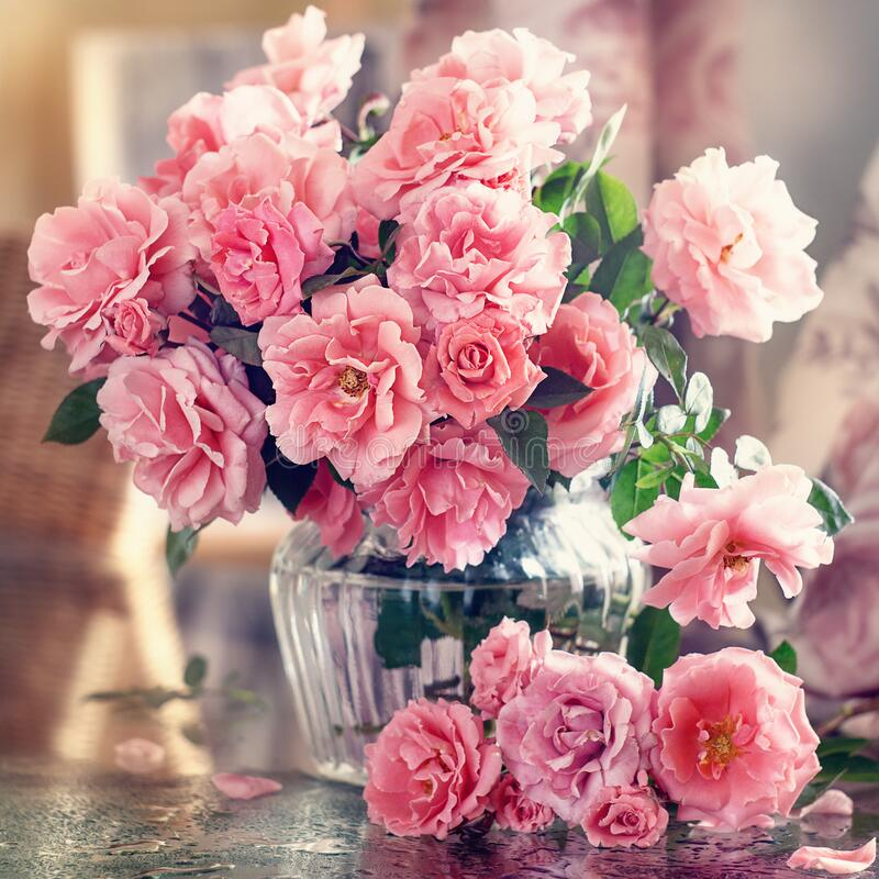 Beautiful fresh flowers on a table. royalty free stock images
