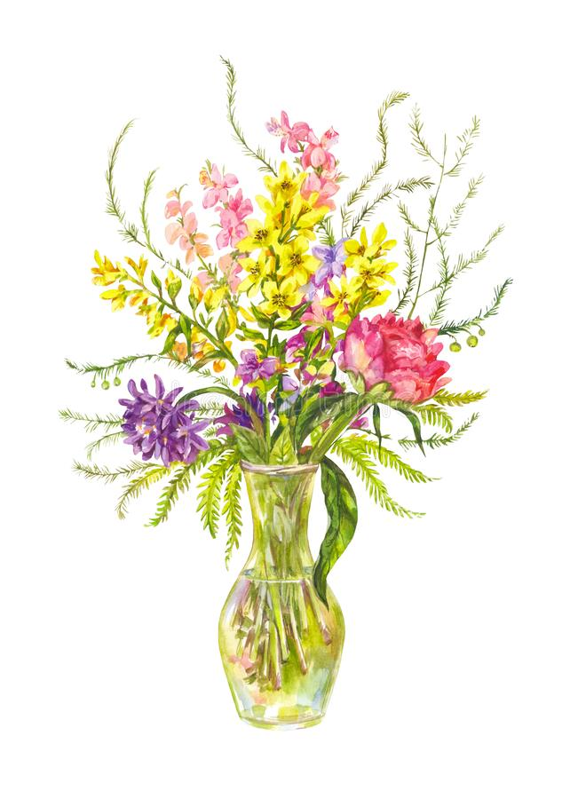Bright bouquet of wild flowers in a glass vase. Watercolor illustration vector illustration