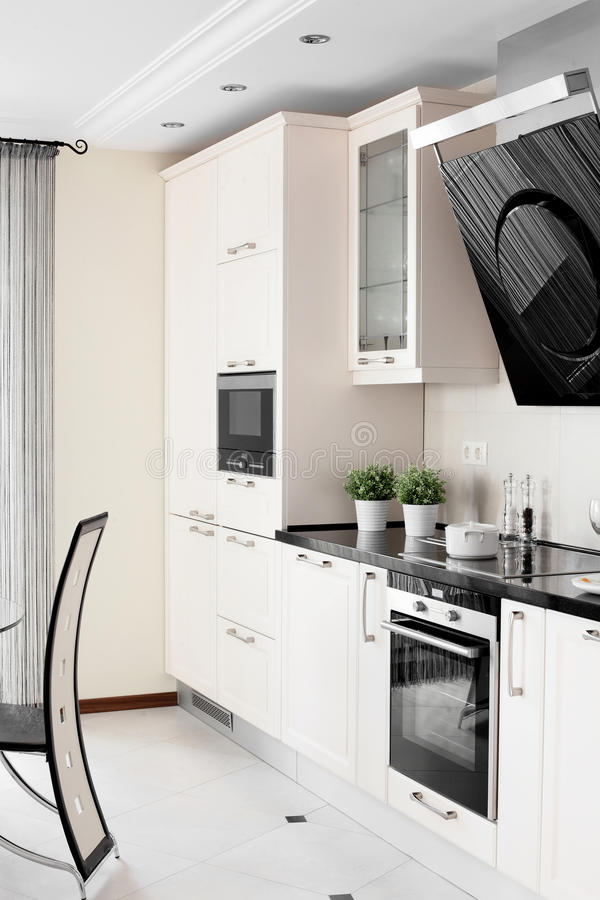 Bright brand new european kitchen. European brand new bright kitchen in the house stock images