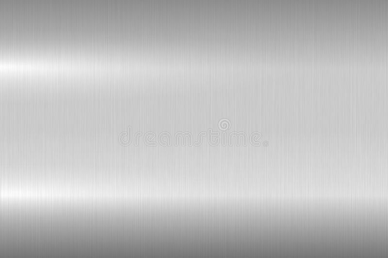 Bright brushed metallic texture, background. Shiny polished metal surface. Vector realistic closeup design.  stock illustration