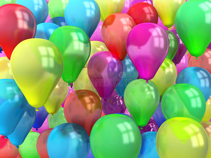 Bright bunch of colorful balloons background royalty free illustration