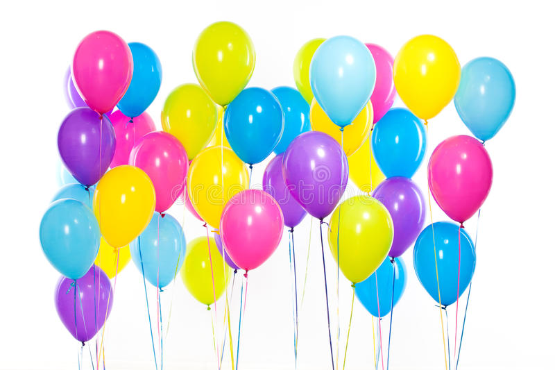 Bright bunch of colorful balloons background stock images