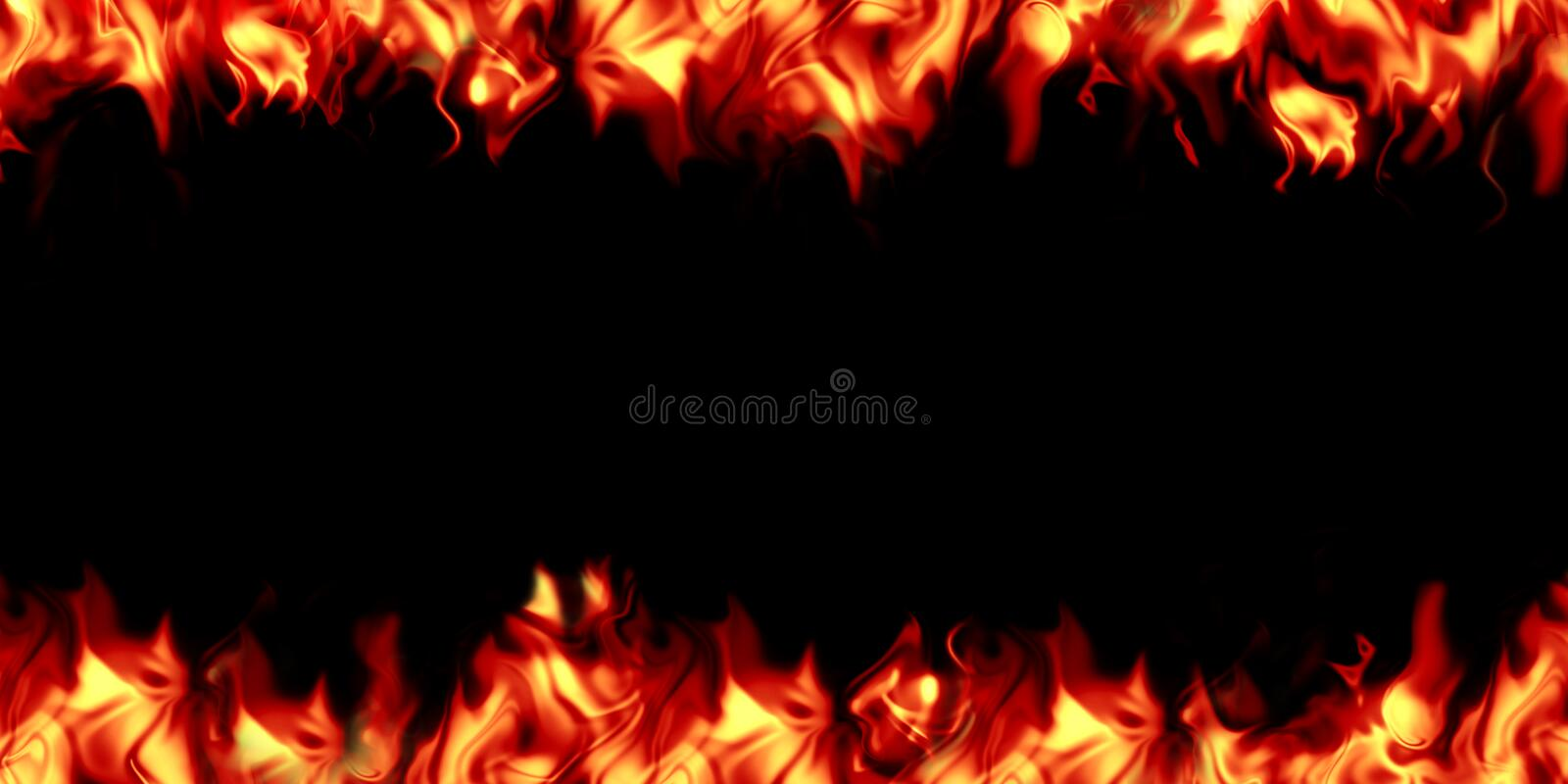 Bright, burning flame on a black background. royalty free stock photo