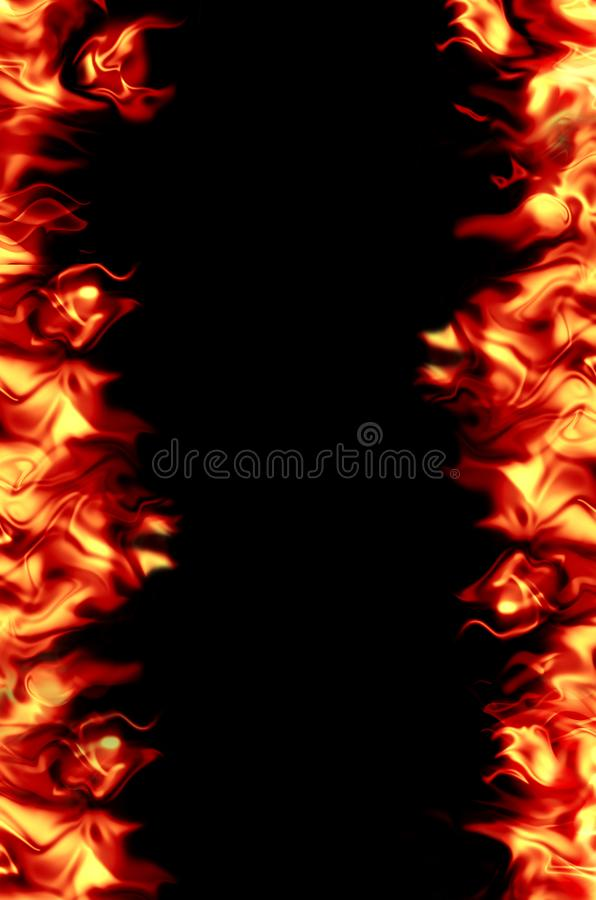 Bright, burning flame on a black background. stock photography