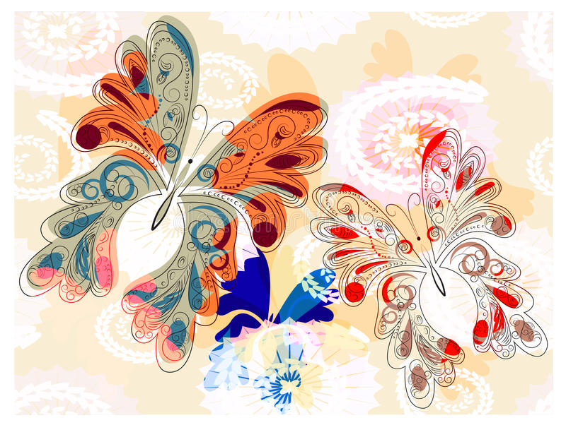 Download Bright butterflies stock vector. Image of brush, life - 17476250