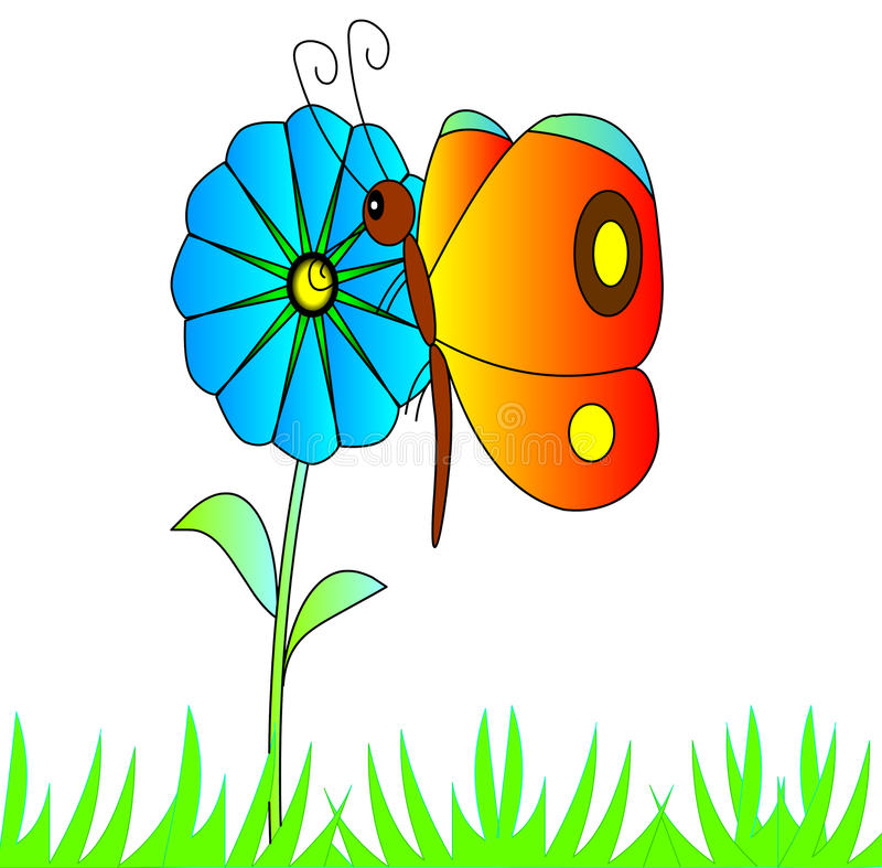 Download The Bright Butterfly On Flower Stock Illustration - Illustration: 12591662