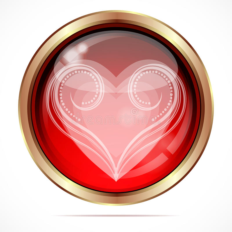 Bright button with the white curls heart shape. royalty free stock photography