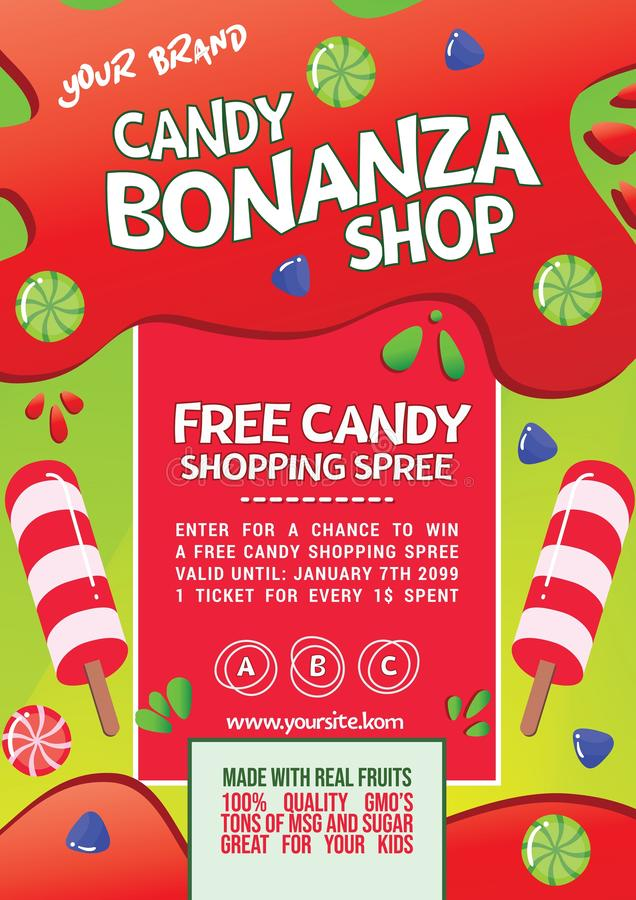 Bright Candy Shopping Spree Flyer vector illustration