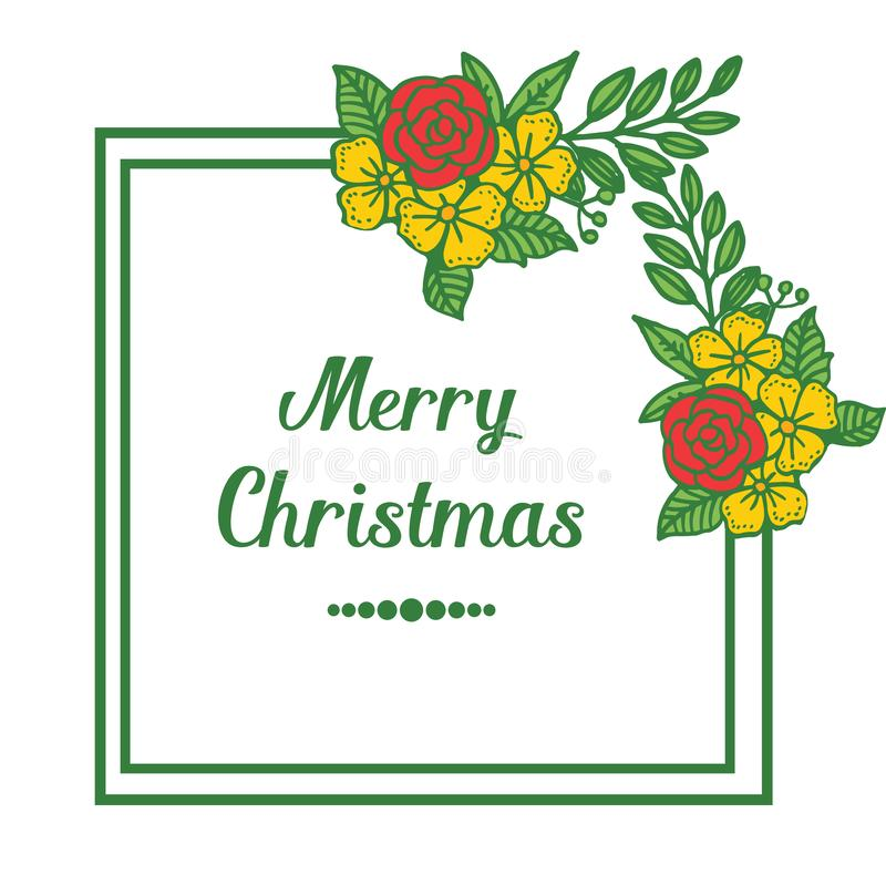 Bright card merry christmas, with pattern of seamless colorful flower frame. Vector vector illustration