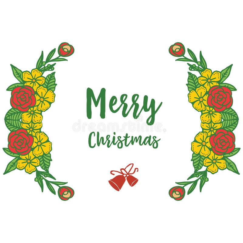 Bright card merry christmas, with pattern of seamless colorful flower frame. Vector stock illustration