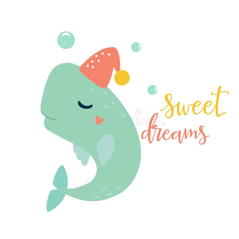 Bright card with whale in hat royalty free illustration