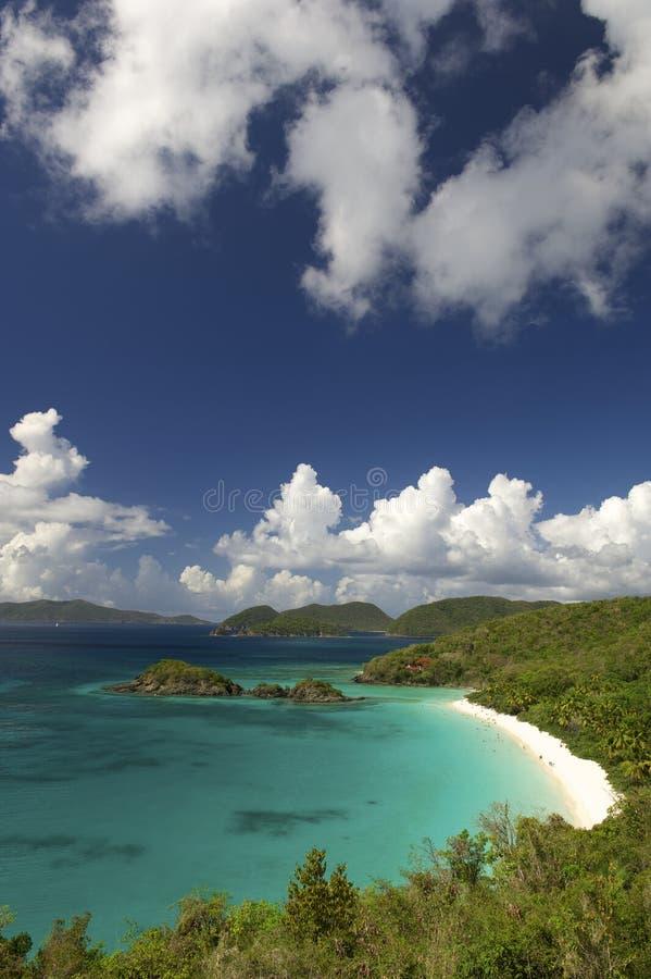 Bright Caribbean Beach Overlook Virgin Islands. Overlook of bright Caribbean Beach at Trunk Bay, St John, USVi royalty free stock photos