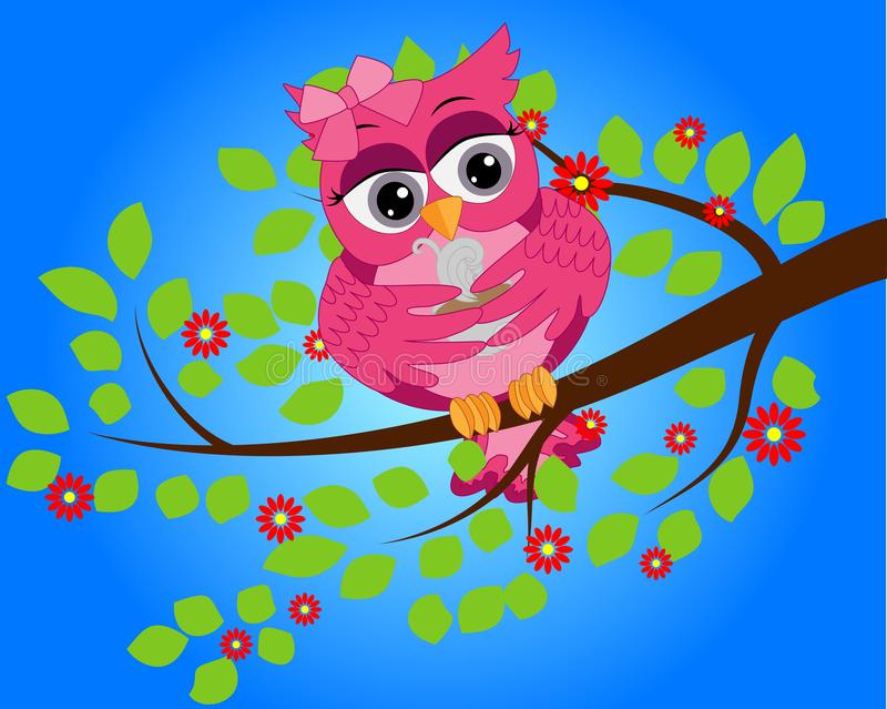A bright, cartoon, beautiful, pink owl with a bow on the ear and a cup of coffee sits on a flowering tree branch stock illustration
