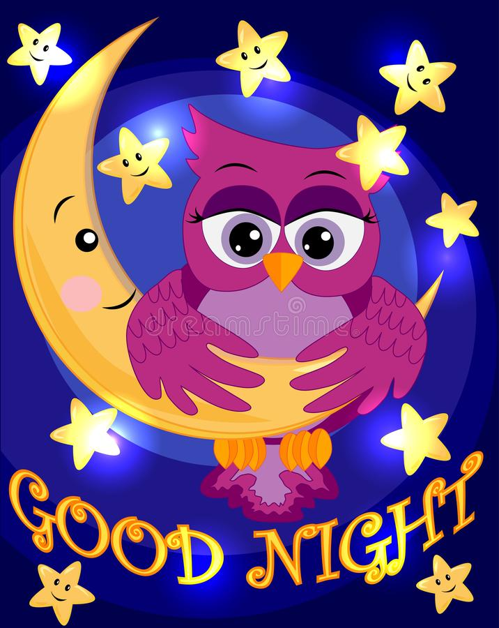 Bright, cartoon, beautiful pink owl-girl with beautiful eyes keeps wings for a month among the stars. Inscription Good night stock illustration