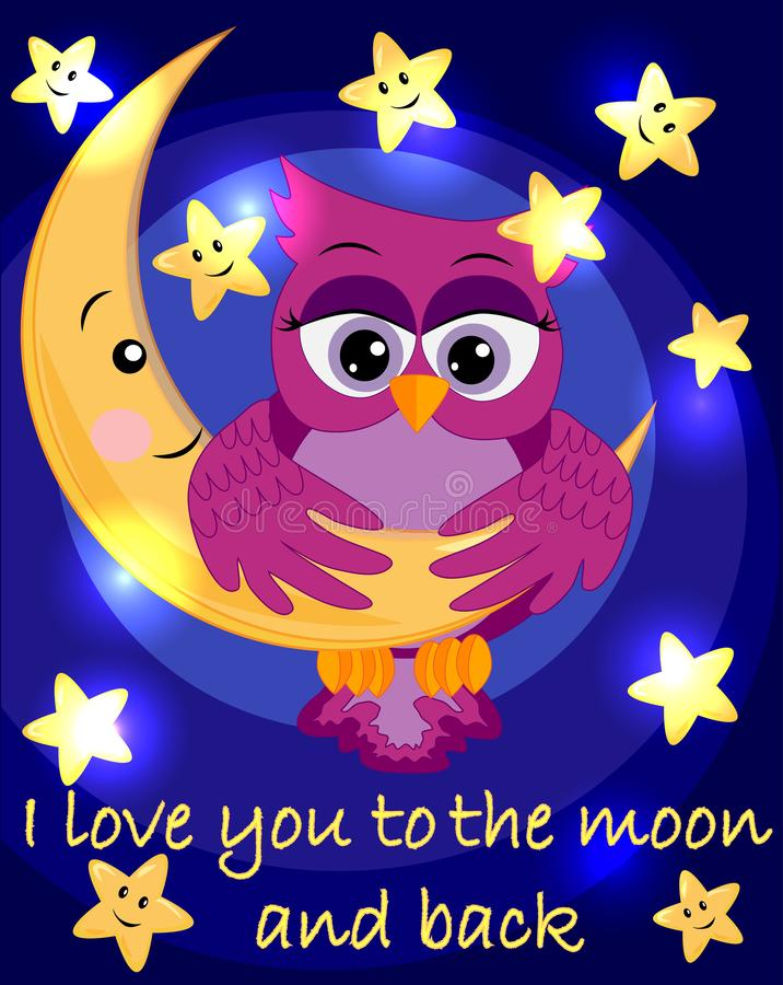 Bright, cartoon, beautiful pink owl-girl with beautiful eyes keeps wings for a month among the stars. Inscription I love you to the moon and back stock illustration