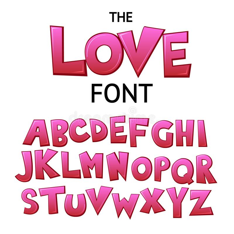 Bright cartoon colorful comic graffiti doodle font, love alphabet. Vector illustration royalty free illustration