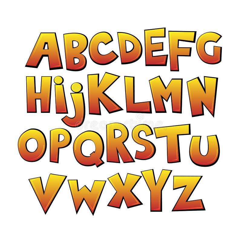 Bright cartoon colorful comic graffiti doodle font, yellow alphabet. Vector illustration royalty free illustration