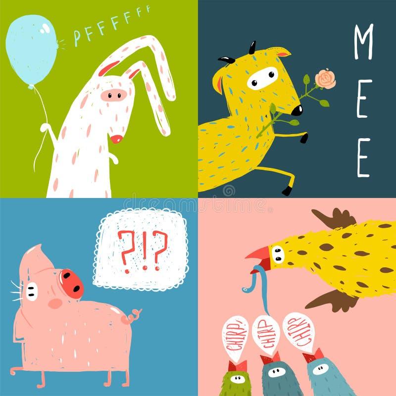 Bright Cartoon Farm Animals Square Greeting Cards vector illustration