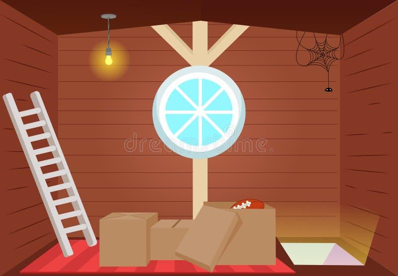 Bright cartoon interior attic. royalty free illustration