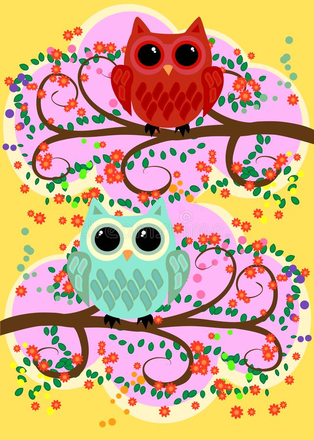 Bright, cartoonish, flirtatious, loving owls on the flowering branches of a tree. Spring, summer, girlfriends royalty free illustration