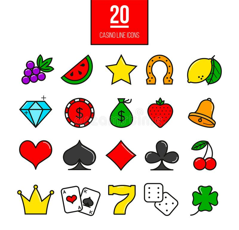 Bright casino line icons set. Vector slot-machine symbols. royalty free illustration