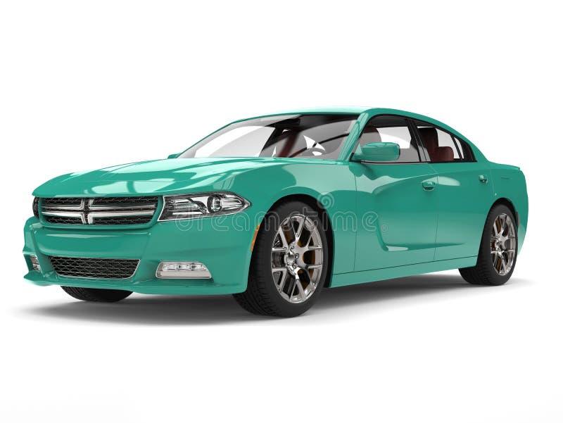 Bright cerulean blue modern city sports car stock illustration