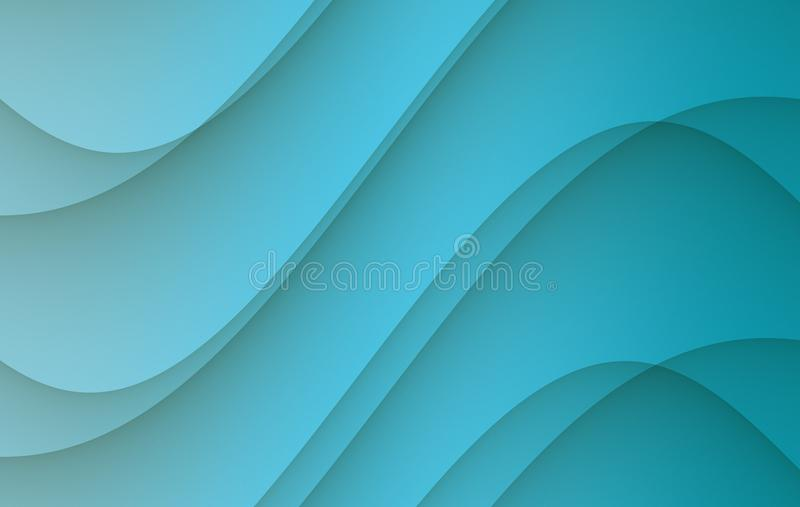 Bright cerulean blue soft flowing smooth curves abstract background illustration royalty free illustration