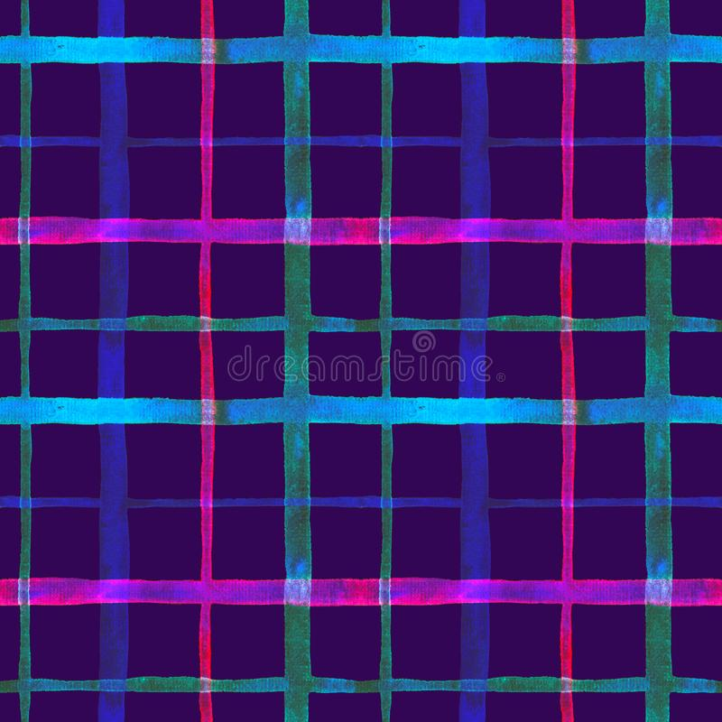 Bright checkered watercolor seamless pattern design in neon blue and pink colors palette. On dark background royalty free illustration