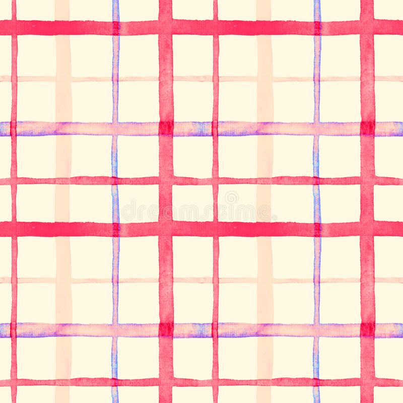 Bright checkered watercolor seamless pattern design in pink colors palette. On soft yellow background stock illustration