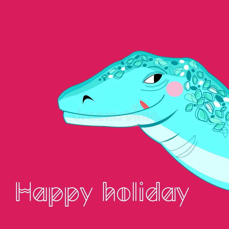 Bright cheerful portrait of a big lizard stock illustration