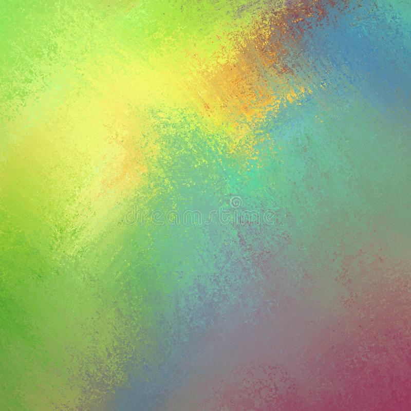 Bright cheery colors in colorful background, yellow green blue pink and orange in bold color splash paint design royalty free illustration