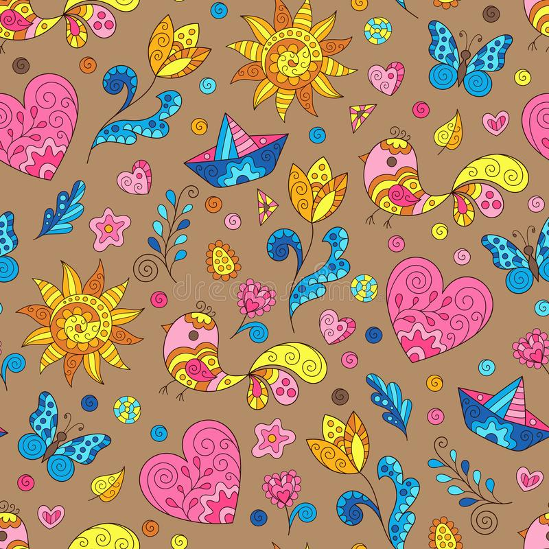 Bright Childish Spring Seamless Pattern with Heart, Sun, Flower, Bird, Leaf, Boat. Doodle Art of Colorful Figures on Brown Background vector illustration