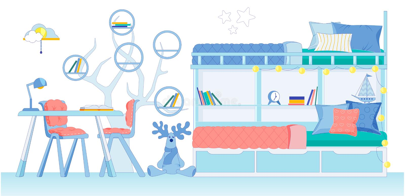 Bright Childrens Room for Two in Dreamy Style illustrazione di stock
