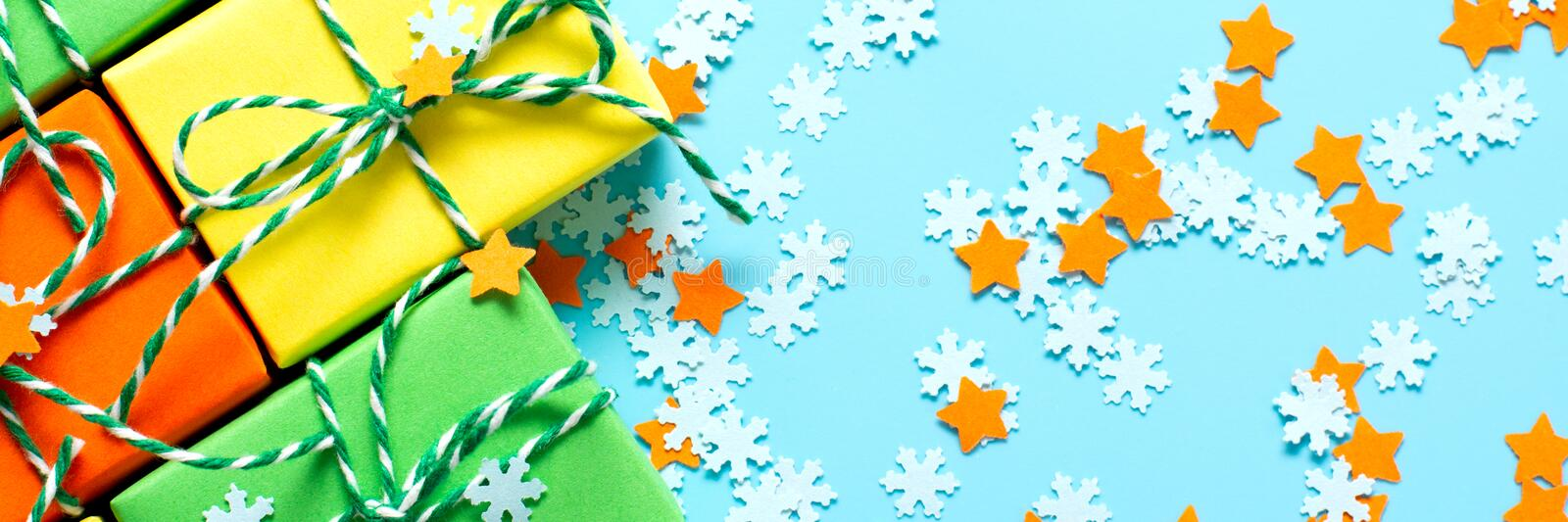 Colored gifts symbol Christmas stock photo