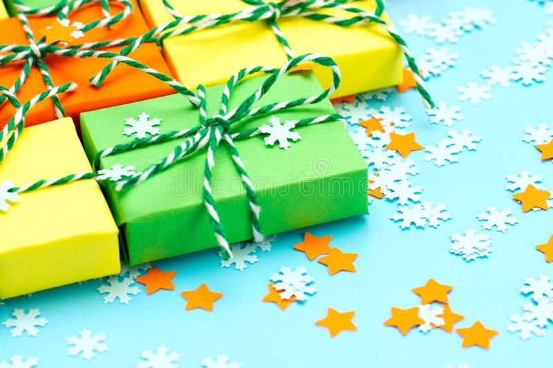 Colored gifts symbol Christmas royalty free stock photography