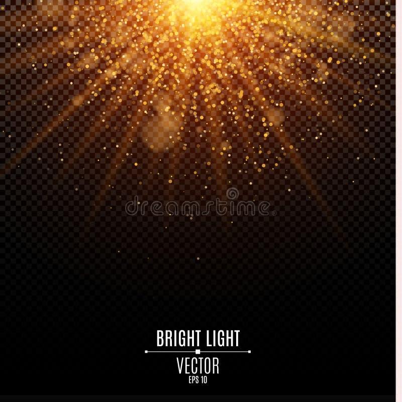 Bright Christmas golden light. Flash Light. Abstract orange lights and rays of light. Gold sand. Festive background. Glare bokeh vector illustration