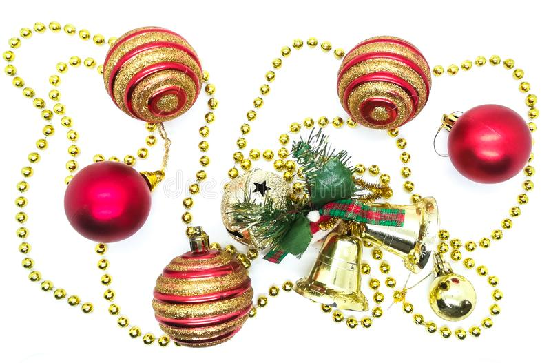 Bright Christmas ornaments in composition stock photo
