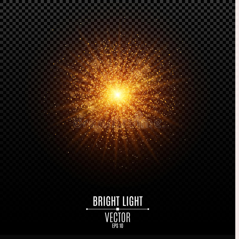 Bright Christmas star. A golden flash of light. Gold dust. Abstract golden lights and rays of light. Glare bokeh stock illustration