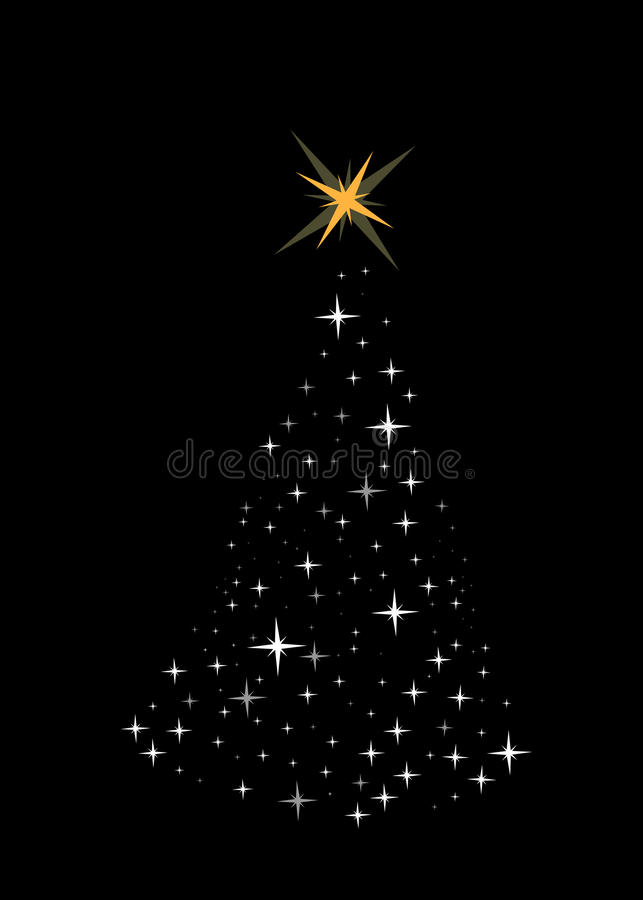 Download Bright Christmas Tree Made Of Stars Stock Vector - Illustration of black, bright: 10254125